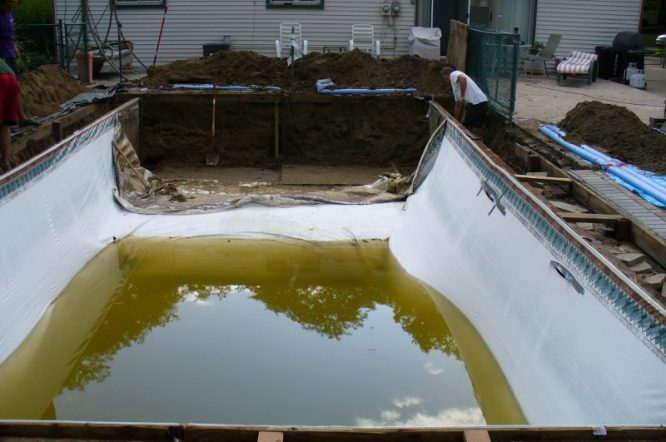 Vinyl pools cause problems and rip easily get a superior concrete pool installed today 704-799-5236